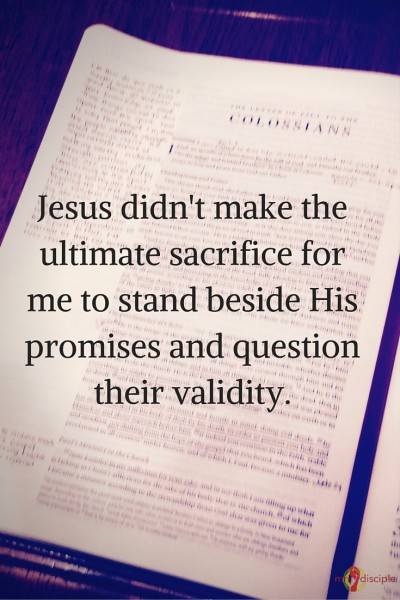 Jesus didn't make the ultimate sacrifice for me to stand beside His promises and question their validity.